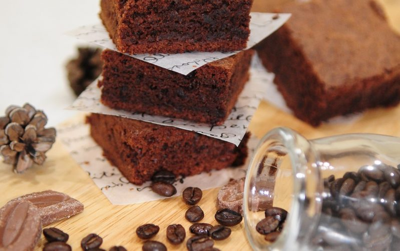 coffee flour brownies with coffee on table