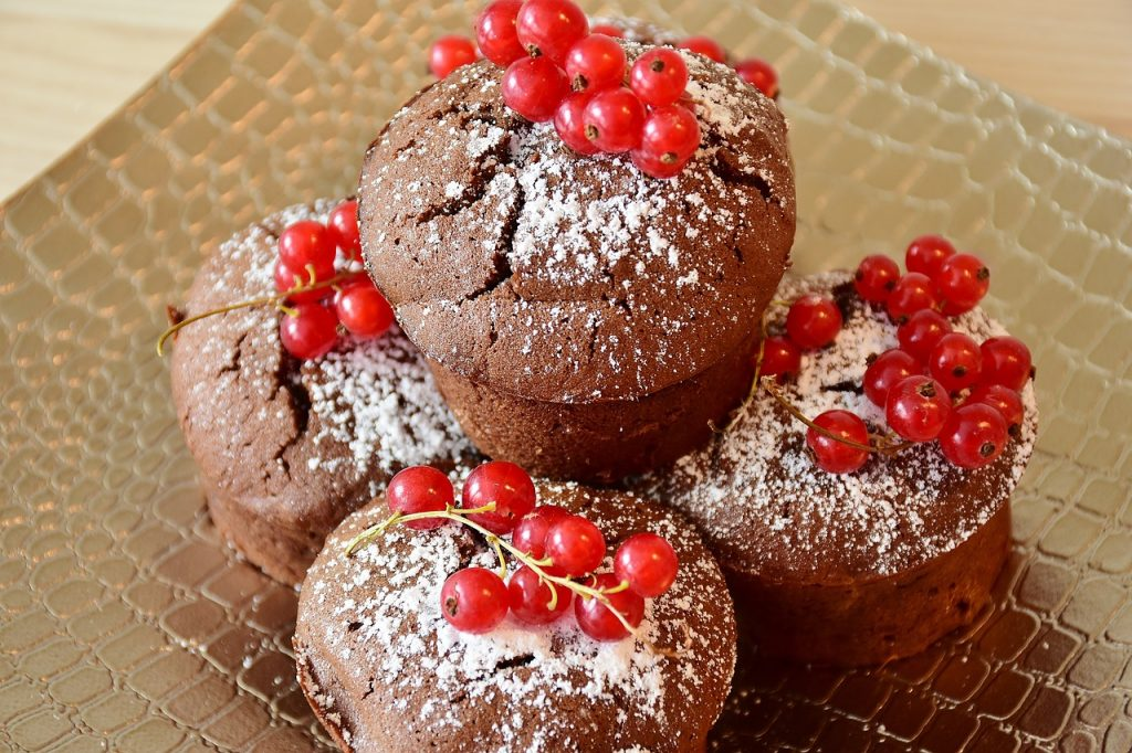 Coffee flour muffins with berries on top